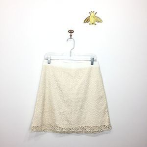 LOFT cream lace overlay a-line skirt 6 0056